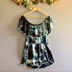TIE DYE OFF THE SHOULDER ROMPER NWT